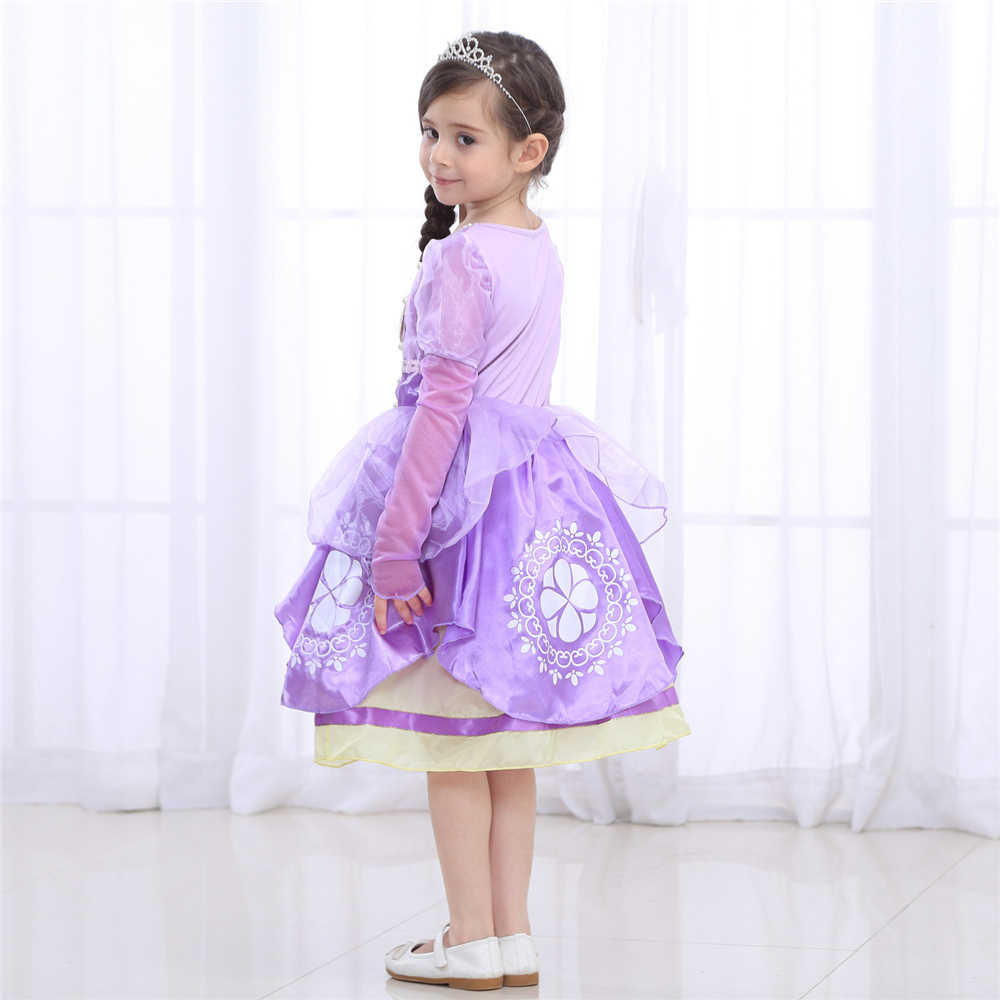 e2e1154343826 Girls Rapunzel Dress Eveving Party Children Purple Princess Sofia Dress  Spring Summer Girl Long-sleeve Tutu Dress Accessories