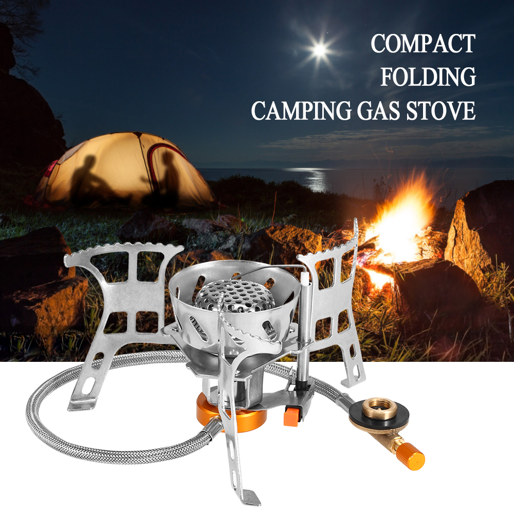 Portable Windproof Camping Gas Stove Outdoor Cooking Stove Foldable Split Burner With Gas Conversion Head Adapter