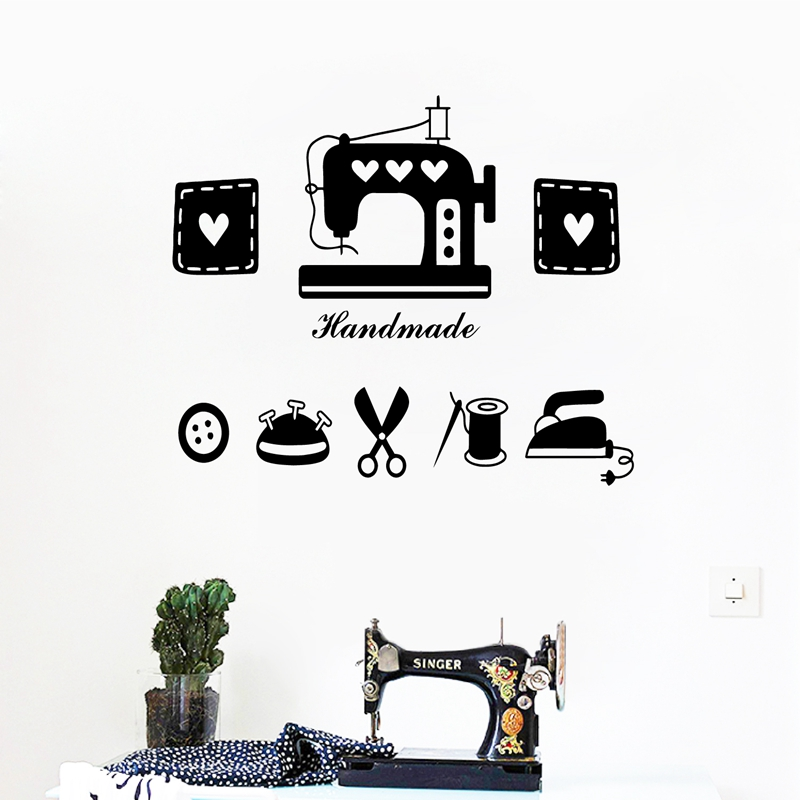 Tailor's Shop Vinyl Wall Sticker Clothes Store Window Glass Decor Sewing Machine Iron Scissors Wall Decals Home Room Decoration