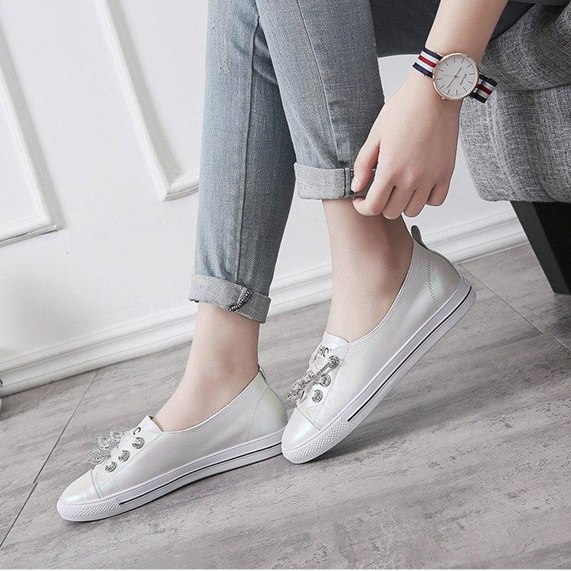 Marque 1 2018 Mode Chaussures Jeunes Nouvelle Cuir Blanc Filles Liée En Occasionnels De Croix Cristal Casual 2 Femmes Dames qUqFxt5n