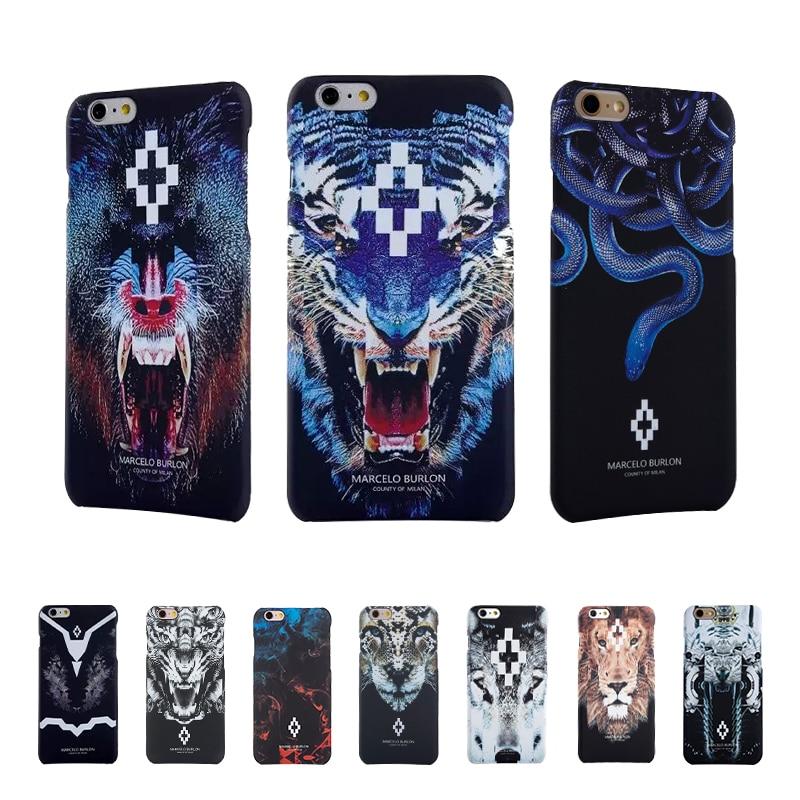 Animal PC Burlon Cases for Coque iPhone 7 6 5S SE Marcelo burlon Case Tiger Lion Fundas for iPhone 6 6s 7 plus Marcelo Cover