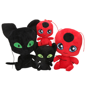 Newest Miraculous Ladybug and Cat Noir Peluche Toys Lady Bug Plagg Tikki Cat Noir Stuffed Dolls toy for kids Children Best Gifts lady bug dolls