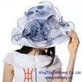 Nueva Manera Del Verano de Joven junio Orgzaza Sombreros 100% Colores Navy Desgaste de la Boda del Organza Blanco Sol de Verano sombreros de Ala Ancha sombrero