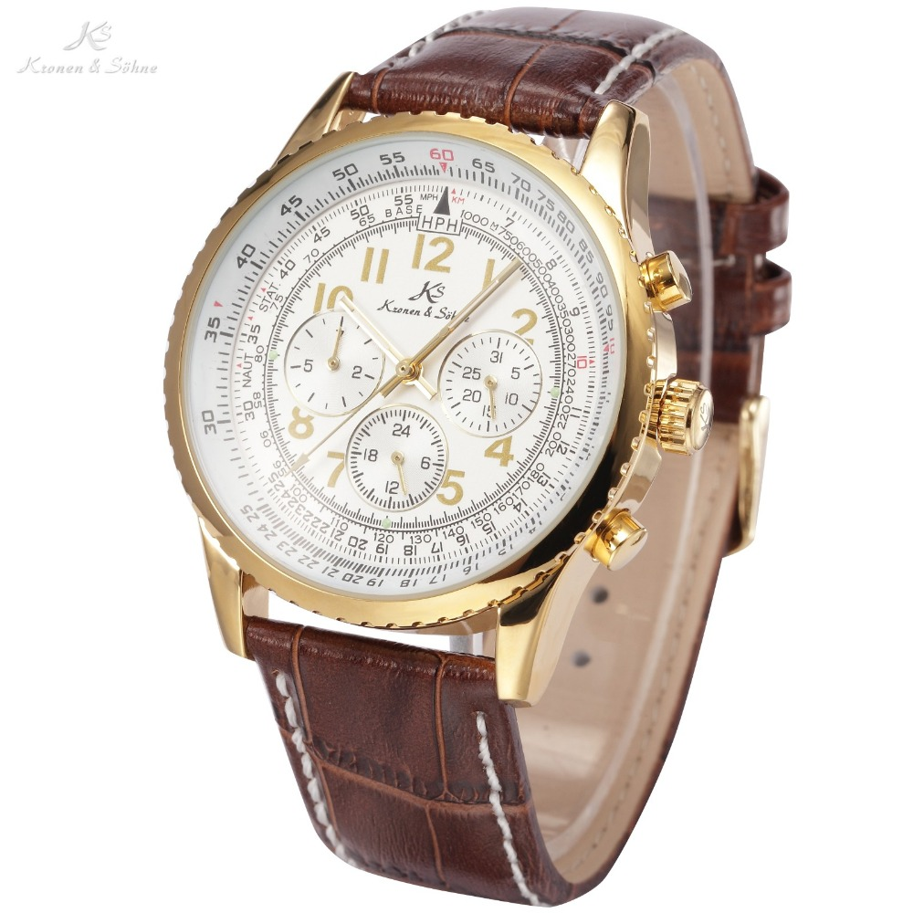Kronen & Sonhe Aviator Calendar Automatic Mechanical Luxury Watch With Brown Leather Band 1