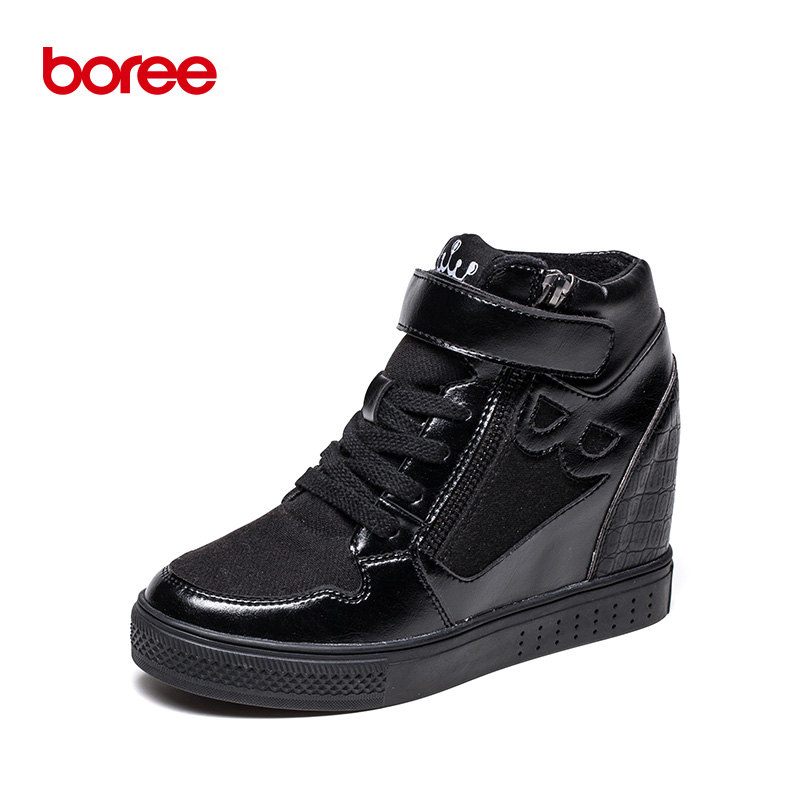 Boree Winter Women s Casual Shoes Fashion Sneakers Height Increase High Top Short Plush Solid Superstar