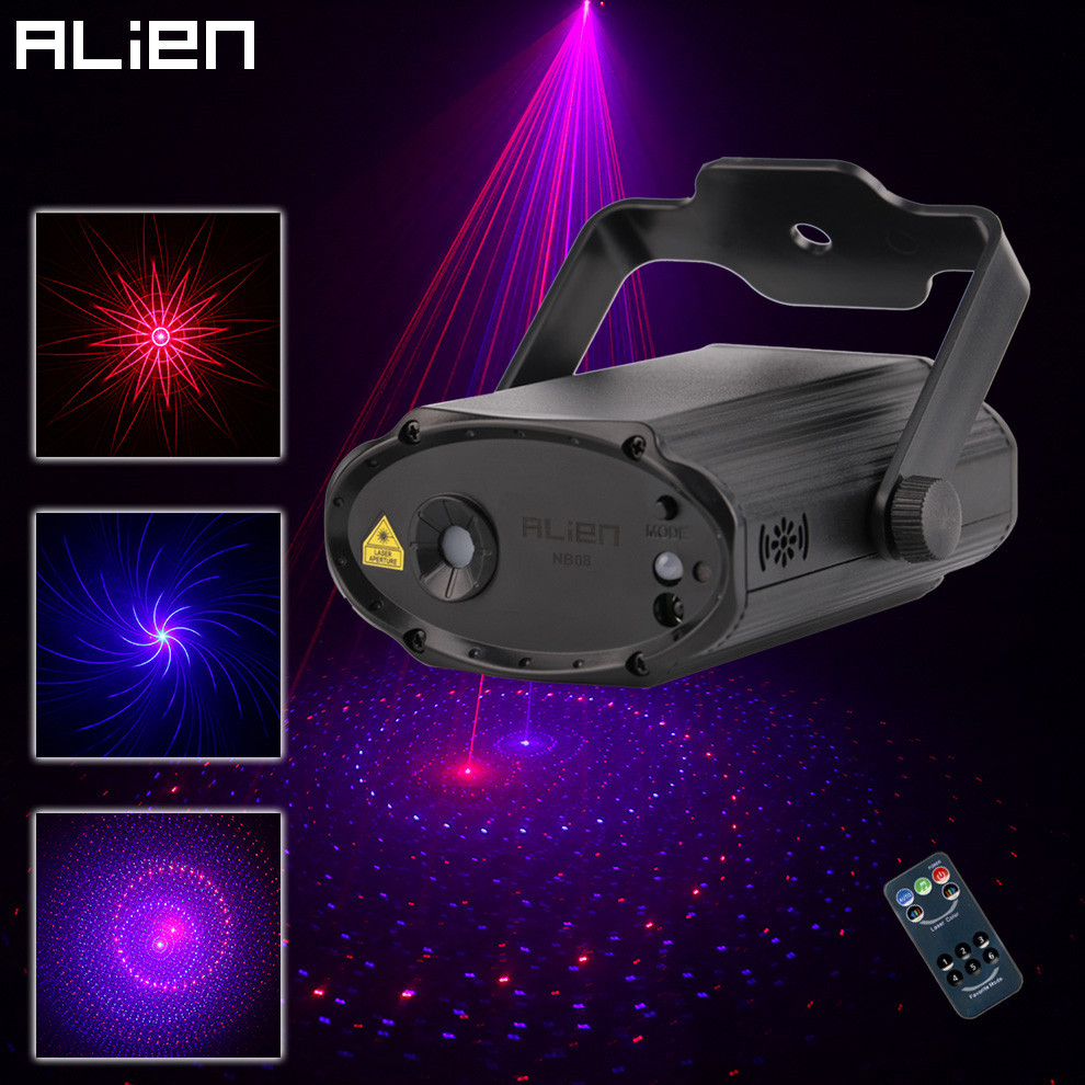 ALIEN Mini 8 Red Blue Patterns Laser Stage Lighting Projector Effect DJ Disco Party  Club Birthday Laser Decoration Soundlights 48 patterns 3lens rg mini laser projector stage lighting red green dj disco party club bar show light led blue stage light