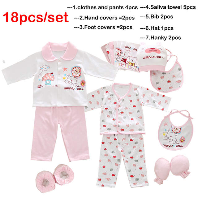 f9beee166 Online Shop 18pcs set newborn girl clothes 0-3 months long sleeve ...