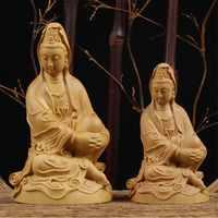 Деревянные изделия декорирование бутика Buxus деревянные с изображением Будды и Гуаньинь Bodhisattva удобные буддийские украшения для дома