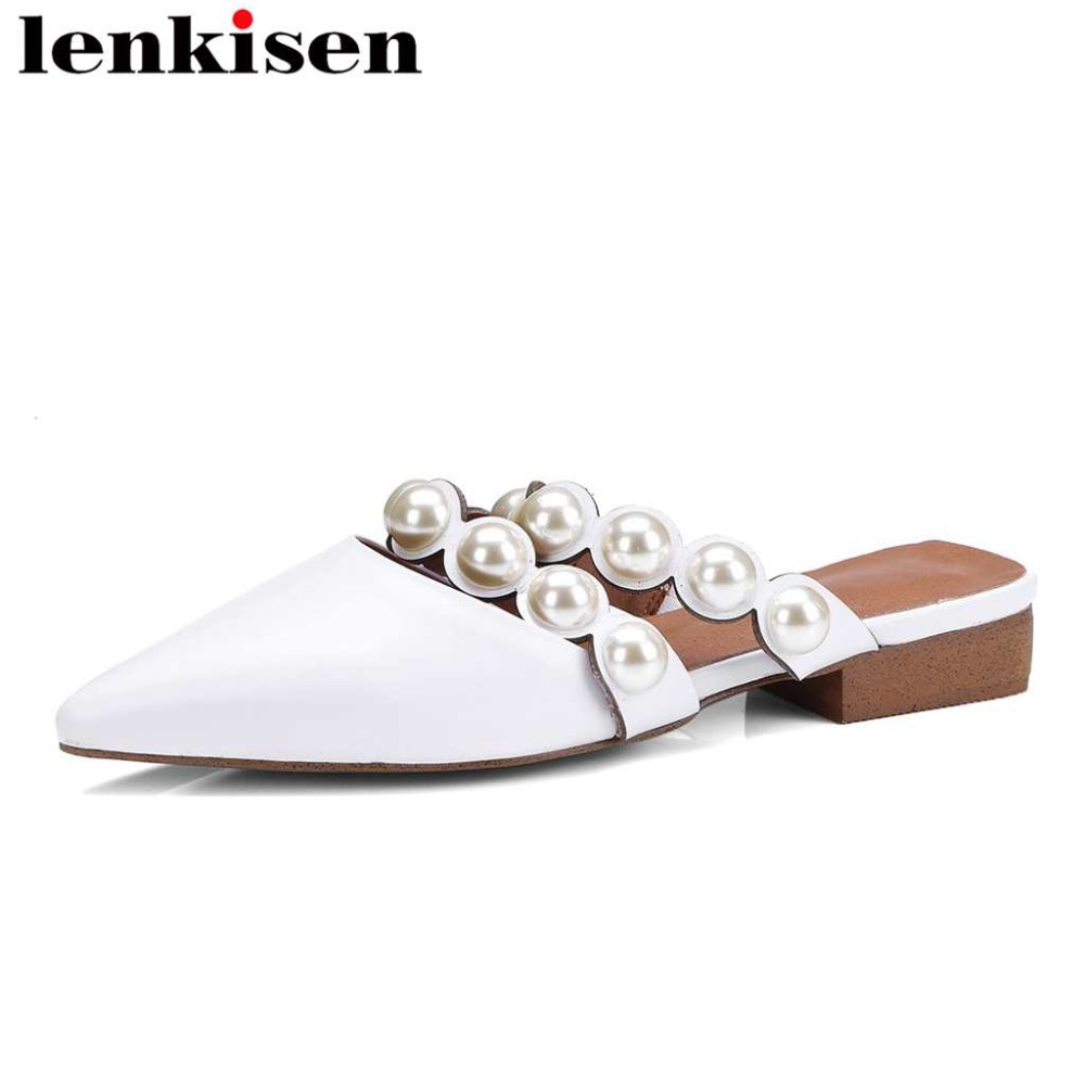 Lenkisen gentlewoman pointed toe cow leather low heels mules solid european movie stars wedding brand slip on women pumps L36 movie stars