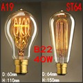 Старинные Антикварные Ретро 40 Вт 220 В 240 В Эдисон Лампочка B22 Ламп Накаливания/Накаливания Эдисон Лампы, ST64, A19 Новый стиль DIY