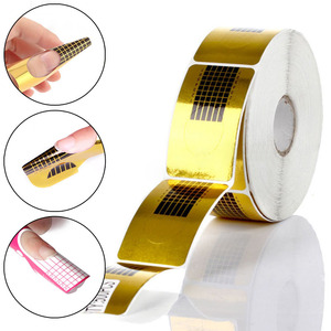 100/50/20pcs Nail Forms Professional Acrylic Curve Nail Extension Nail Art Guide Form Curl Tips Stencils(China)