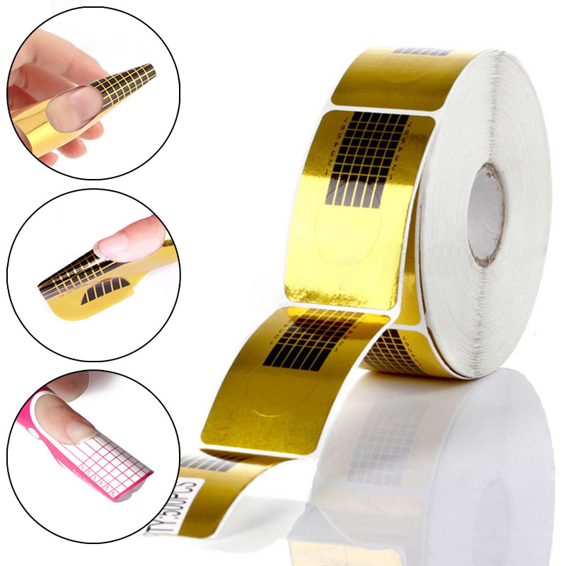 100/50/20pcs Nail Forms Professional Acrylic Curve Nail Extension Nail Art Guide Form Curl Tips Stencils