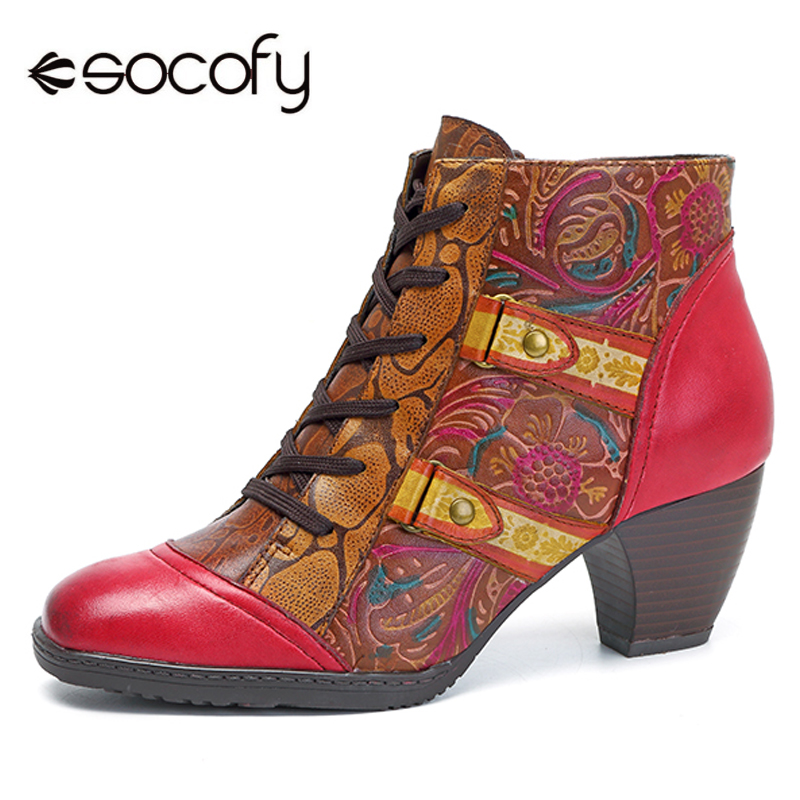 Socofy Vintage High Heel Boots Women Shoes Retro Bohemian Printed Genuine Leather Ankle Boots Shoes Woman Spring Autumn Botas