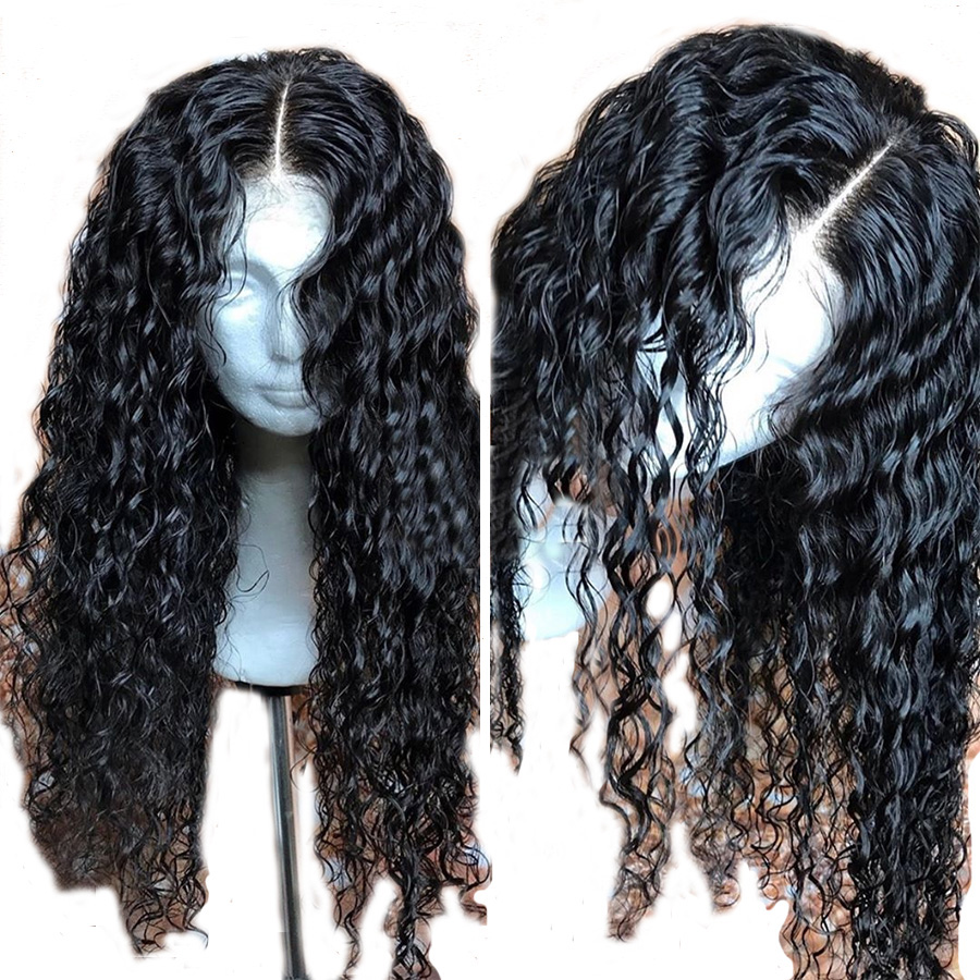ALICROWN 13 6 Deep Part Curly Lace Front Human Hair Wigs with Baby Hair Brazilian Remy