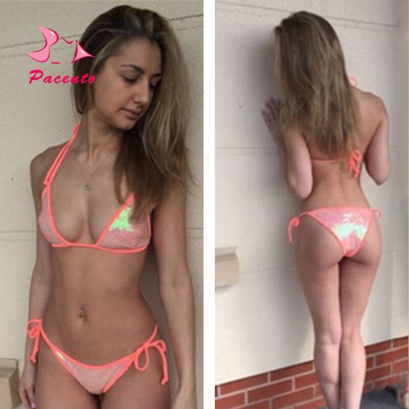 906ef89e3f0 Pacento 2018 Hot Shiny Sequins Bikini Set Halter Swimwear Women Plus Size  Swimsuit Female Sexy Bandage Beachwear XL Plavky May-in Bikinis Set from  Sports ...