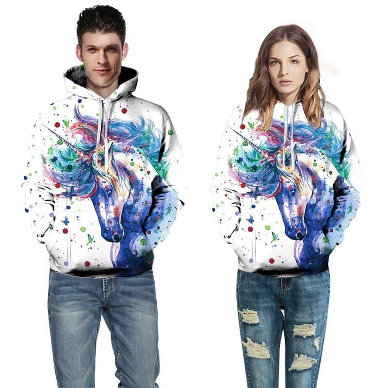 IOLPR fashion Digital Print unicorn Sweatshirt Couple Hooded Baseball Suit Large Size Hooded Long Sleeve Sweatshirt Unisex in Hoodies amp Sweatshirts from Women 39 s Clothing