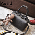 KAVARD Women Handbags PU Leather High Quality Boston Shoulder Bags With Pendant Bear Designer Tote Bolsos bolsos mujer 2017