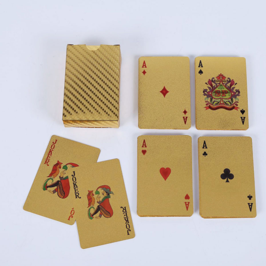 Gold Foil Plated Poker Playing Cards Golden Playing Card set Plastic foil poker Durable Waterproof Card Special Gift Table Games