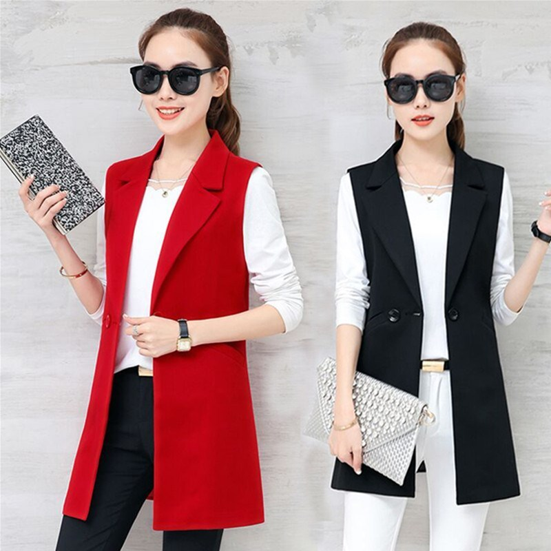 Elegant Suit Blazer Vest Women Spring Summer Sleeveless Long Vest Jacket Colete Plus Size 3XL Blazer Vest Coat Women Waistcoat
