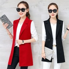 Elegant Suit Blazer Vest Women Spring Summer Sleeveless Long Jacket Colete Plus Size 3XL Coat Waistcoat