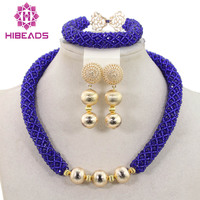 New Indian Bridal Jewelry Sets Royal Blue Crystal Choker Necklace Set Women Party Gold Jewelry Sets Free Shipping ABH273