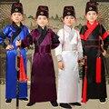 Новый детский Костюм Китайский Народный Танец 4 цвета тан костюм Древняя Китайская Hanfu Одежда мужская Косплей Костюм Hanfu мужчины мужской