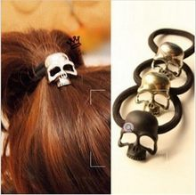 Women's Fashion Retro Punk Three-Dimensional Metal Skull Hair Rope Band Hair Accessories for Girl CJWD80(China)
