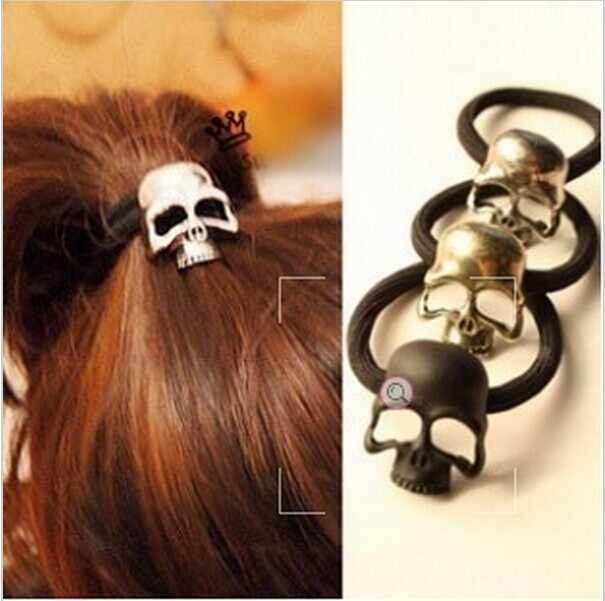 Women's Fashion Retro Punk Three-Dimensional Metal Skull Hair Rope Band Hair Accessories for Girl CJWD80