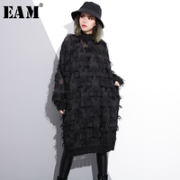 EAM 2018 New Spring Perspective Round Neck Long Sleeve Black Lace Tassels Big Size Long