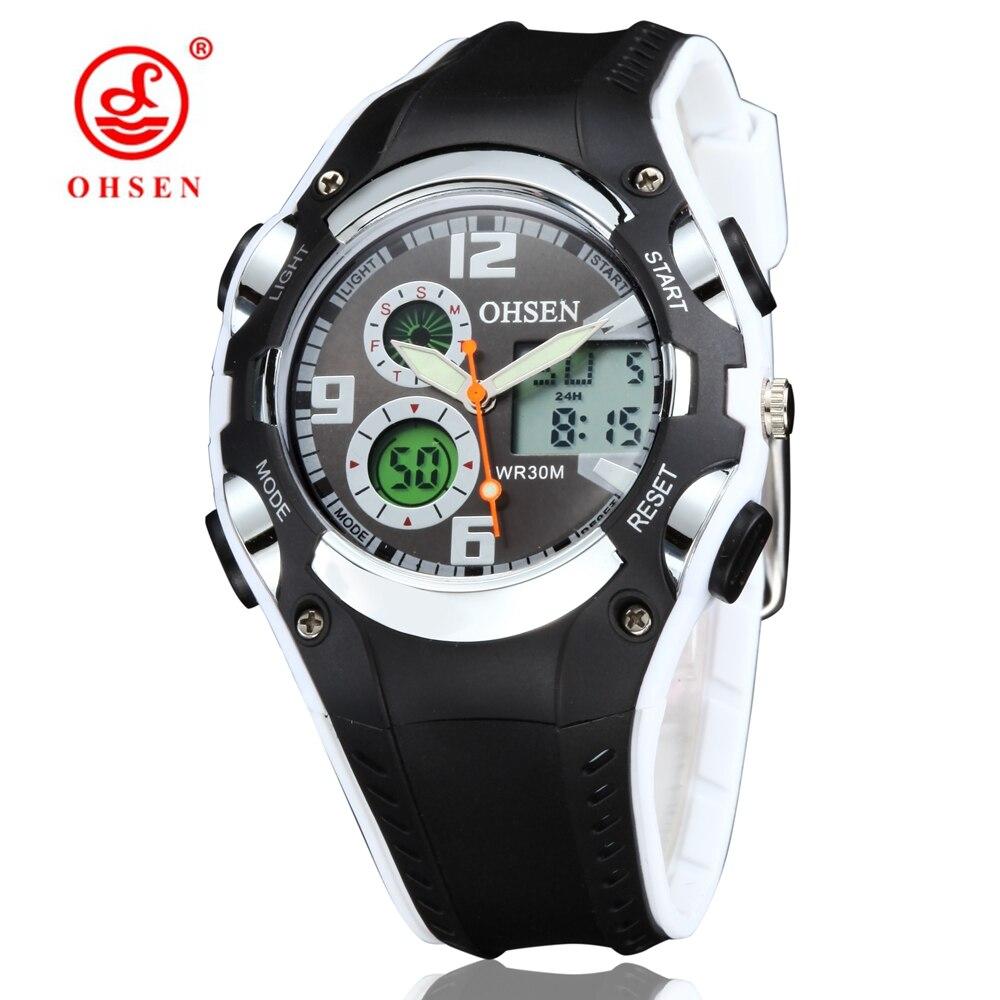 OHSEN Brand Digital Quartz Sports Watches Wristwatches Boys Childrens Waterproof Silicone Band Fashion White Military Male Watch