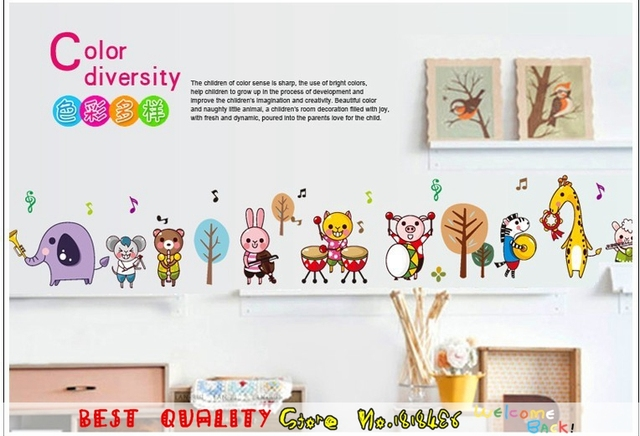 Cartoon happy birthday wall stickers animal music band wall stickers for kids room decoration diy