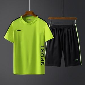 Image 5 - Летние мужские спортивные комплекты, тренировочный костюм, мужская верхняя одежда с буквенным принтом, большой размер 5XL, спортивный костюм, комплект из 2 предметов, мужской спортивный костюм с круглым воротником