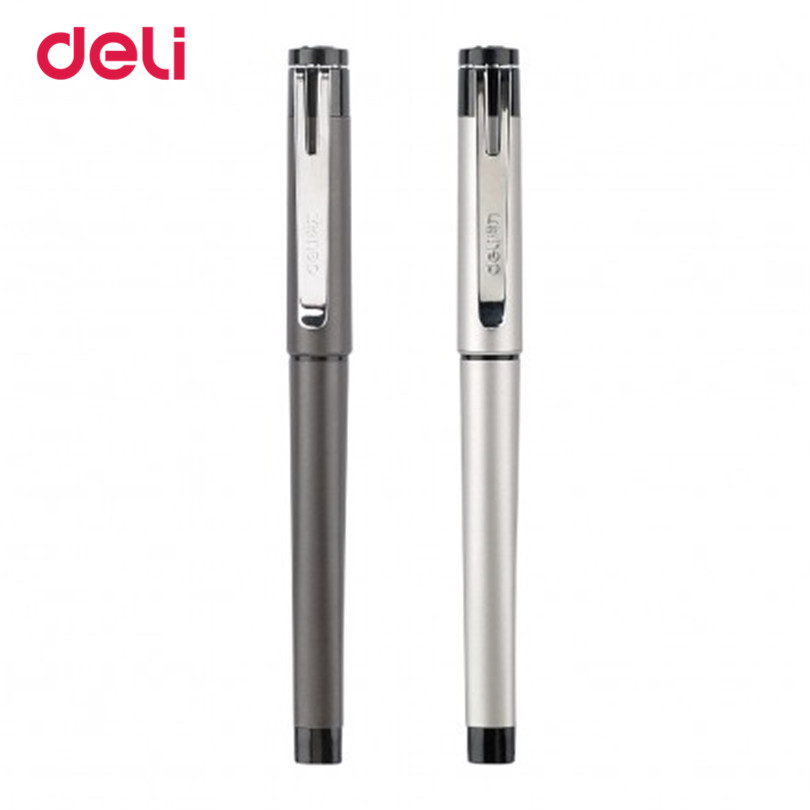 Deli 1pcs Stationery Office Supplies Gel Pens Scrub feel 0.5mm Mental gel pens refill gel pens school for writing Gift box