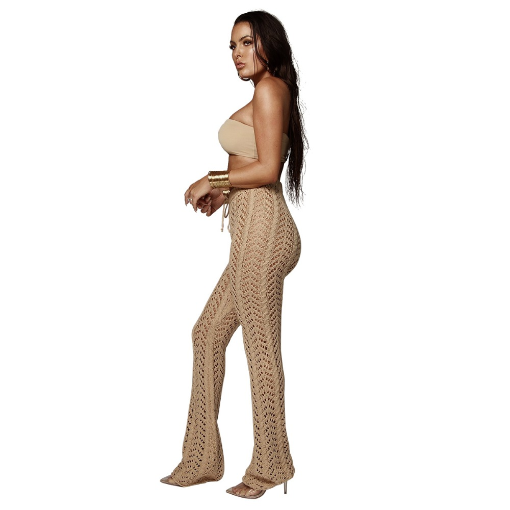 2019 Women Summer Beach Knitted Hollow Out Pants See Through Beachwear Flare Pant Sexy Bodycon Party Trousers Clubwear