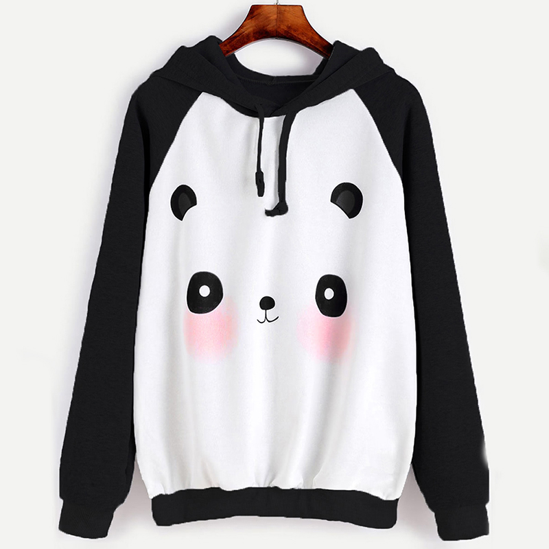 Preppy Style Women Hoodies Cute Cartoon Panda Thin Sweatshirts Casual Hoody Harajuku Women Tracksuits Female Sudaderas 832561