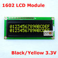 16x2 1602 Character LCD Module Black Background / Yellow Characters 5V