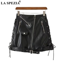 LA SPEZIA Leather Skirts For Women Lace Up Black Mini Short Skirts With Belt Female Zippers Biker Slim Fit Punk Rock Mini Skirt