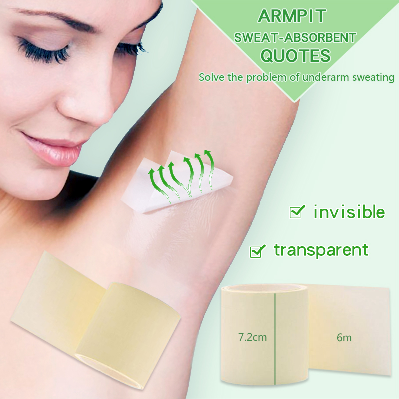 1 Roll 6m Invisiable Absorbent Armpit Underarm Sweat Pads Absorption Anti-perspirant Stick  For Women And Men Anti Perspirantion