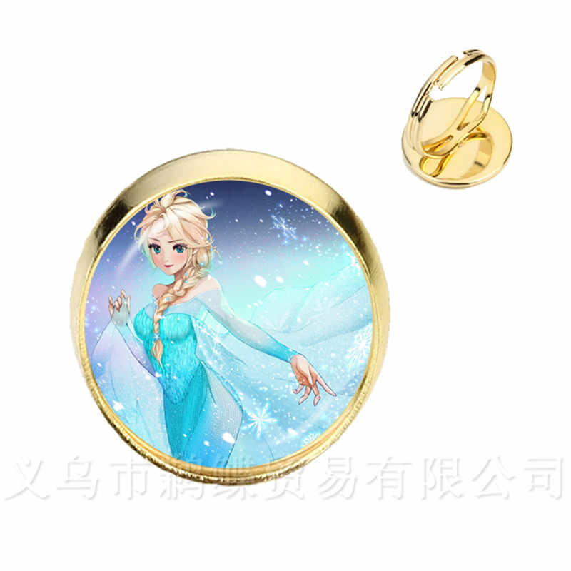 2018 Hot Elsa Anna Adjustable Rings 16mm Glass Dome Cartoon Jewelry Girl Round Glasses Ring Women Girls Gift For Kids