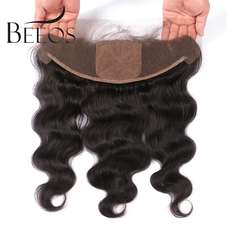 BEEOS 10-20 Pre Plucked Silk Base Lace Frontal Closure 13*4 Remy Hair Brazilian Body Wave Human Hair Closure With Baby Hair