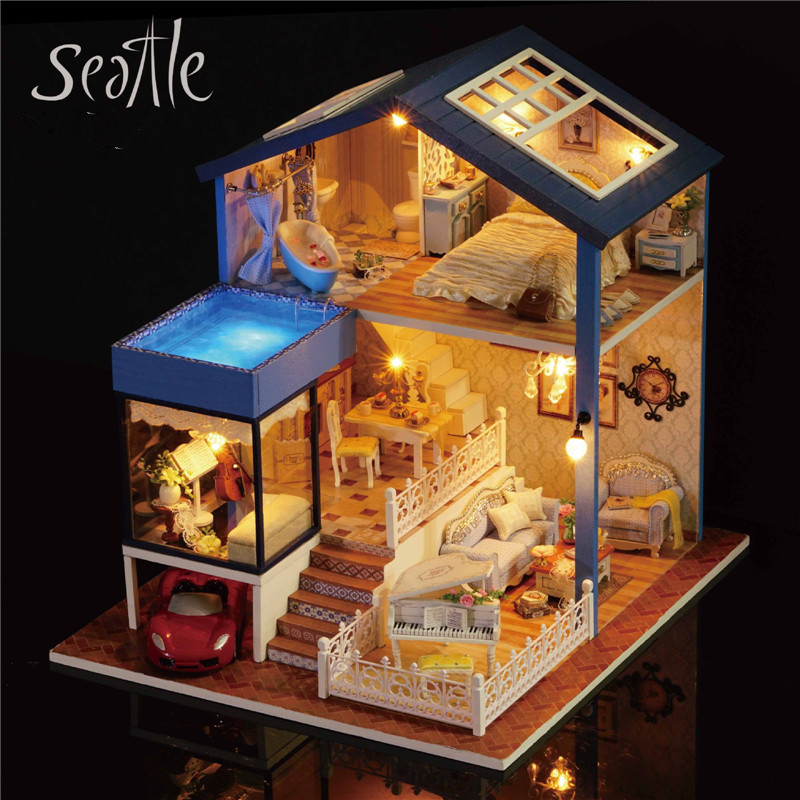 Sylvanian Families House DIY Wooden Toys Seattle Handmade House Toys for Children Birthday Creative Gift Juguetes Brinquedos