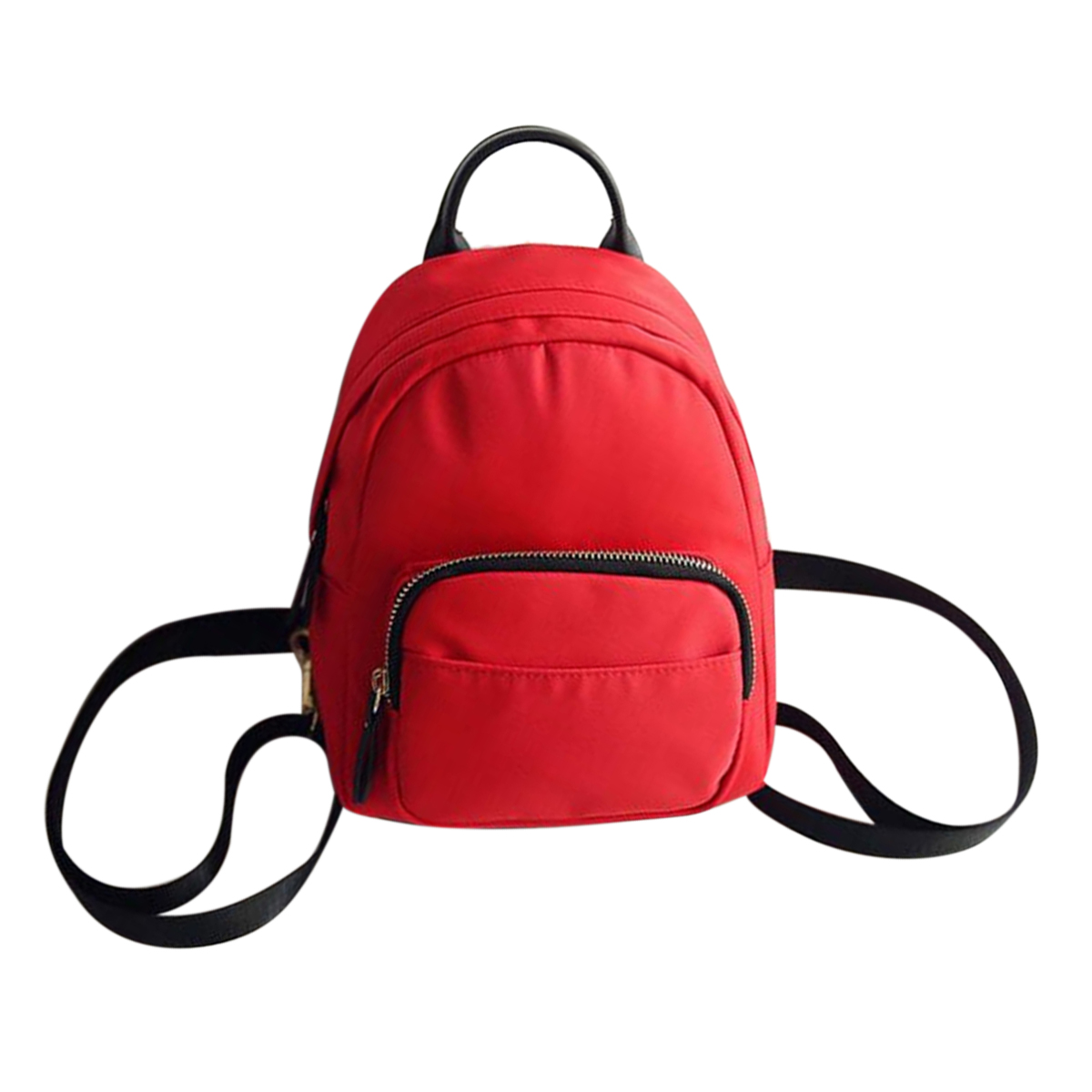FGGS Women Backpack Nylon Shoulder School Travel Bag Small Casual Rucksack(Red)