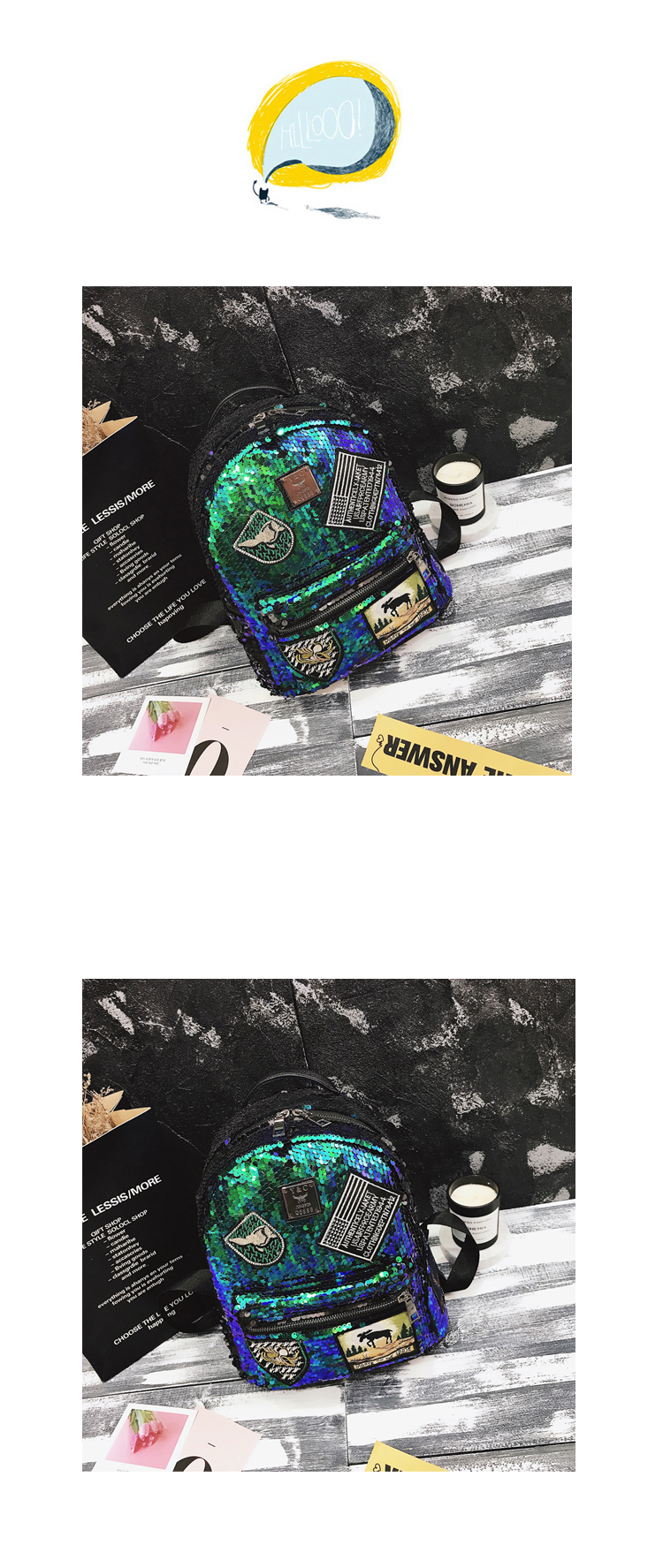 Sequin Backpack Korean version 2018 New Personality Badge Fashion Backpack Wild Casual 20