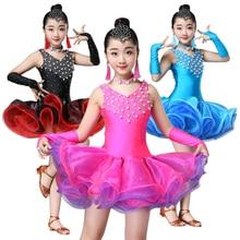 جديد فستان رقص لاتيني أسود وأزرق وردي وأحمر للفتيات فساتين مسابقة رقص لاتيني للأطفال ملابس رقص لاتيني للبنات