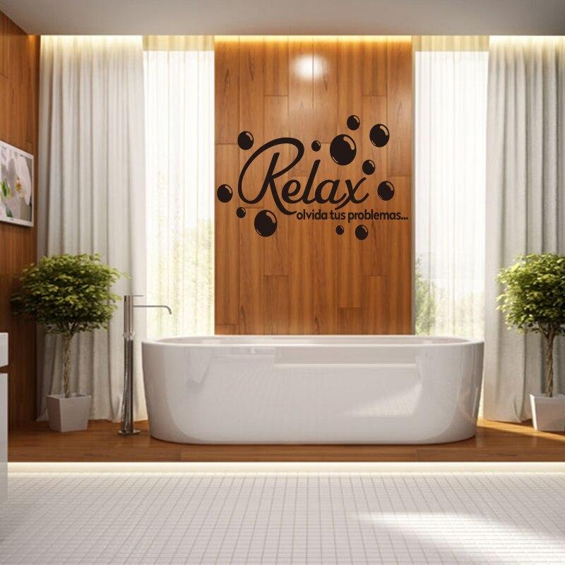 €5.69 5% de réduction|Citation espagnole Relax bulles salle de bains  autocollants vinyle Stickers muraux papier peint Mural Art décor maison ...