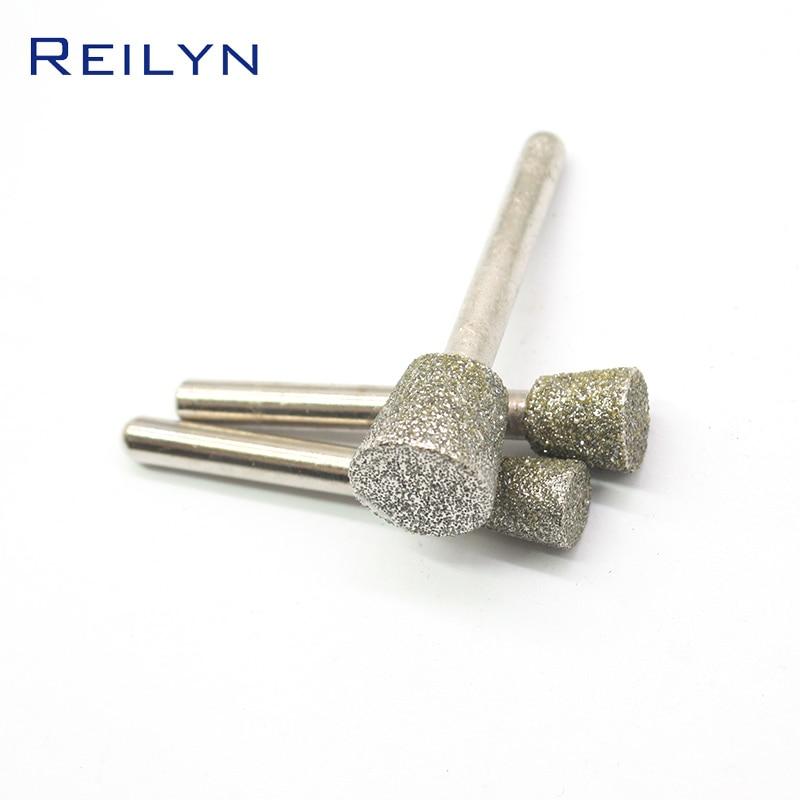Reilyn Diamond Grinding Point Shank 6mm Point Size 6mm-16mm Grit 60# Metal Peeling Diamond Stone Jade Grinding Point Polishing