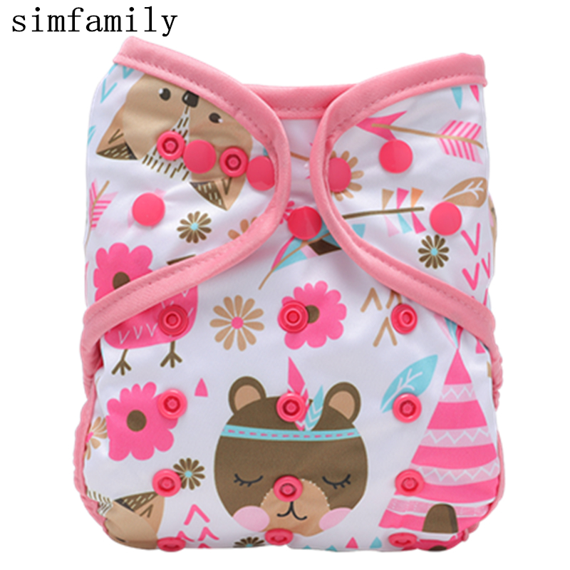 [simfamily]1PC Reusable Cloth Diaper Cover Washable Waterproof Baby Nappy PUL Suit 3-15kgs Wholesale Adjustable Diaper