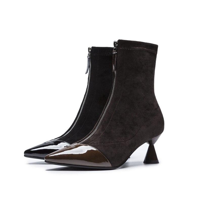 coffee Cheville Bottes 2018 Faux Classique Verni Asumer Bout Cuir Zip Femmes Mode Noir Suede Nouvelle Bal Pointu Chaussures Femme En De f8wSzAR