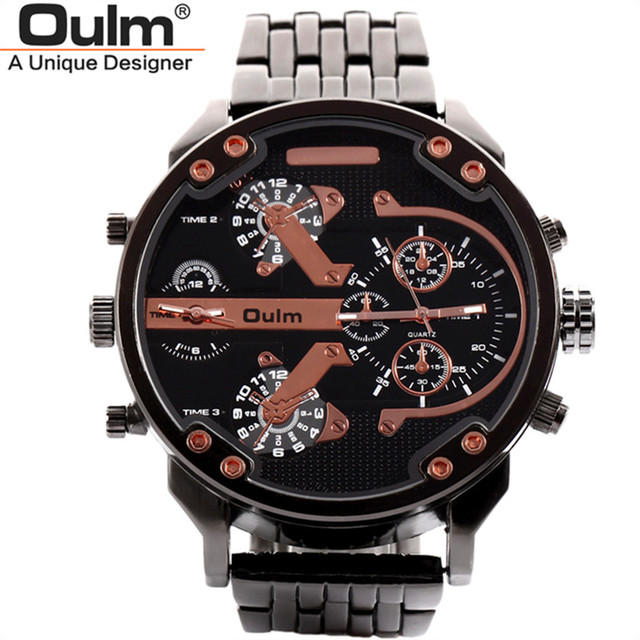d82f2774879 Oulm Militar Masculino Relógios de Ouro de Quartzo-relógio de Alta  Qualidade relógio Marca de
