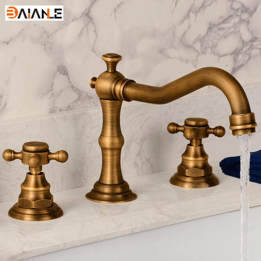 Basin Faucet Deck Mounted Three Holes Double Handles Widespread Bathroom Sink Faucet, Antique Brass Finished Wire drawing chrome polished bathroom sink faucet 3pcs double handles three holes basin faucet deck mounted